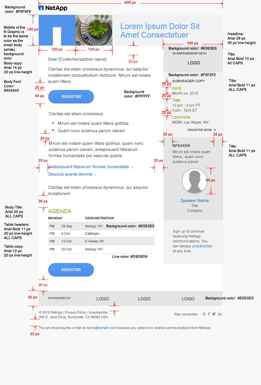 NetApp Email Guideline - Two column email template