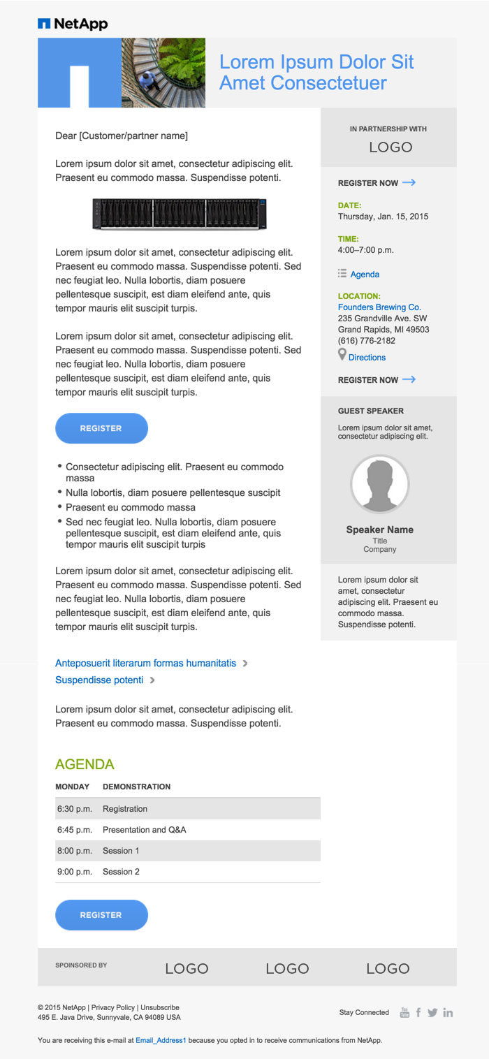 NetApp Email Guideline - Internal email newsletter templates